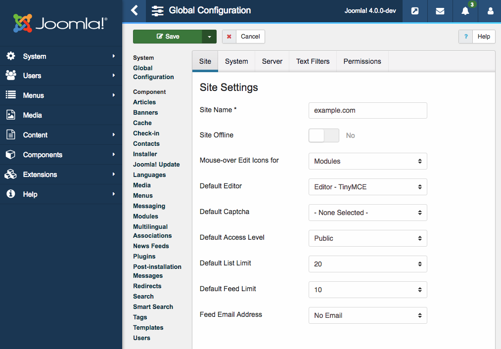 Global configuration page Joomla 4